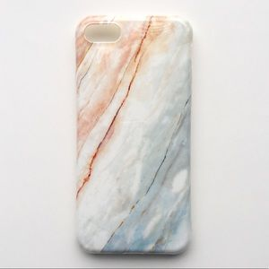 Accessories - NEW iPhone 7/7+/8/8+ Case Granite Pink Blue Marble